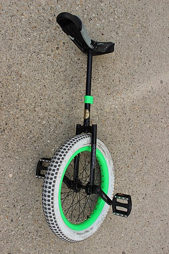 Unicycle trials - Trial unicycle (Nimbus), with a white tire to allow indoor riding