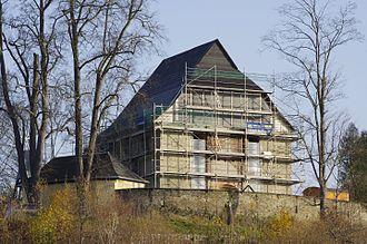 Triebel - Image: Triebel Wiederaufbau Kirche 2014