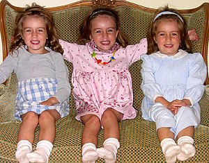 Multiple birth - Identical triplets like these three sisters occur when a single fertilized egg splits in two and then one of the resulting two eggs splits again.