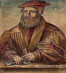 Hans Sachs, Holzschnitt von Michael Ostendorfer (1545) (Quelle: Wikimedia)