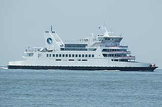 Cape May–Lewes Ferry - M.V. Twin Capes near the Cape May, New Jersey terminal on July 4, 2005.