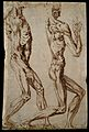 Two écorchés, facing right. Drawing, attributed to Wellcome V0007723.jpg