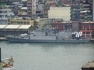 Two ROCN Ching Chiang Class Patrol Ships behind Keelung Harbor Police Office 20120526.jpg