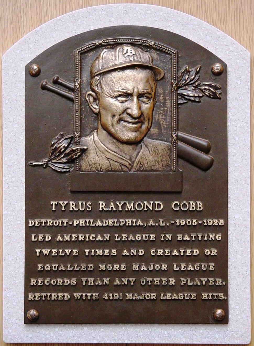 Ty Cobb HOF plaque