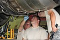 U.S. Air Force Senior Airman John Bradley, Staff Sgt. Lee Ritter and Tech. Sgt. Scott Kyle, all with the 191st Maintenance Squadron, Michigan Air National Guard, perform maintenance on a KC-135 Stratotanker 120811-F-VA676-218.jpg