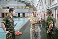 U.S. Marine Corps Col. Andrew L. Solgere discusses the Marine Corps qualification requirements for Marine Corps basic training at the recruit swimming pool at Marine Corps Recruit Depot Parris Island, S.C 090727-M-QA590-059.jpg