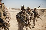 U.S. Navy Hospital Corpsman 2nd Class Branden Johnson, center, assigned to the Marine Corps Fox Company, 2nd Battalion, 8th Marine Regiment, Regimental Combat Team 7, participates in a mission rehearsal at Camp 130528-M-QZ858-096.jpg