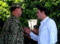 U.S. Navy Rear Adm. Thomas L. Brown II, left, the commander of Special Operations Command South, speaks with Colombian Defense Minister Juan Carlos Pinzon Bueno before the opening ceremony for Fuerzas Comando 120606-A-WK843-029.jpg