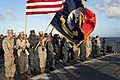 U.S. Sailors and Marines stand at attention aboard amphibious dock landing ship USS Pearl Harbor (LSD 52) June 4, 2012, in the Pacific Ocean during a commemoration of the 70th anniversary of the Battle 120604-N-KS651-030.jpg