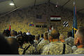 U.S. Soldiers with 4th Advise and Assist Brigade, 3rd Infantry Division, United States Division - Center listen to Secretary of Defense Robert M. Gates, center, speak Sept 100901-A-GQ146-015.jpg