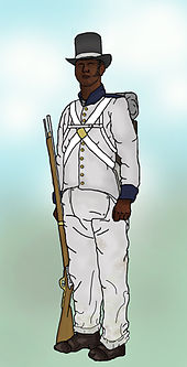 A drawing of a soldier with a musket, wearing a light coloured uniform with dark facings, a white crossbelts, a hat and a pack