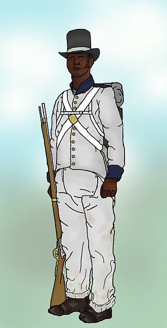 Battle of Bladensburg - British Colonial Marine, of the Corps of Colonial Marines, in a fatigue uniform, as worn for ordinary duty. On the battlefield, the red coat would have been worn. 200 black soldiers of this corps were present at the battle