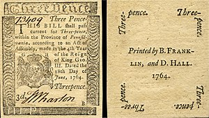 Early American currency - Obverse and reverse of a three pence note of paper currency issued by the Province of Pennsylvania and printed by Benjamin Franklin in 1764.