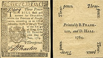 Early American currency - Obverse and reverse of a three pence note of paper currency issued by the Province of Pennsylvania and printed by Benjamin Franklin in 1764