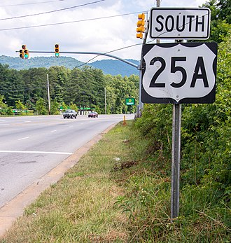 Special routes of U.S. Route 25 - US 25A towards Arden