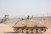 USAF M113 at the Theater Internment Facility at Camp Bucca, Iraq, 10 Feb 2008. The vehicle is assigned to the 886th Expeditionary Security Forces Squadron's quick response force and equipped with claymore mines.