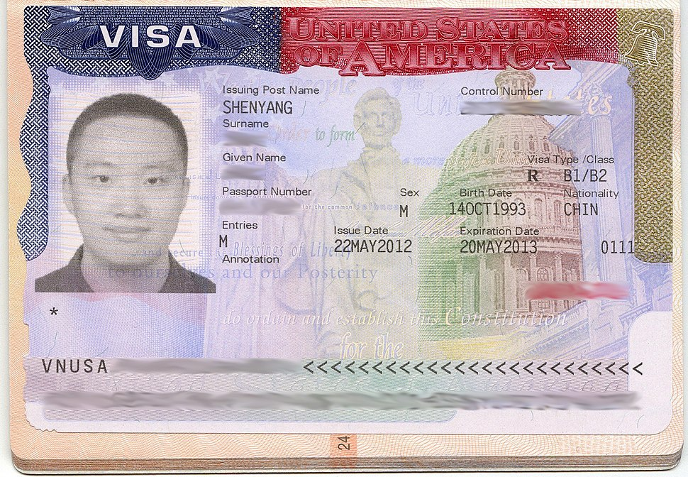 USA visa issued by Shenyang (2012)