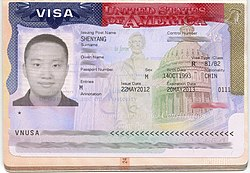 USA visa issued by Shenyang (2012).jpg