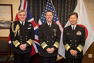 Japan Maritime Self-Defense Force - October 20, 2016, a meeting between Adm Tomohisa Takei, Adm John M. Richardson and Adm Sir Philip Jones in United States Department of Defense.