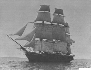 Africa Squadron - A photograph of the sloop-of-war USS Jamestown (date unknown). She captured two slave ships with the Africa Squadron.