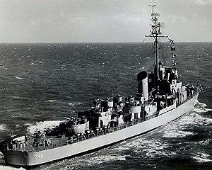 USS Roberts (DE-749) underway at sea, circa in the 1950s (80-G-1028016)