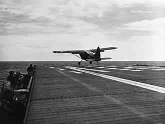 Stinson L-5 Sentinel - USMC OY-2 takes off from the USS Sicily, 1950