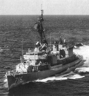 USS Wiltsie (DD-716) underway at sea, circa in the 1960s
