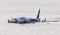 US Airways Flight 1549 (N106US) after crashing into the Hudson River (crop 2).jpg