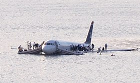 US Airways Flight 1549 (N106US) after crashing into the Hudson River (crop 2).jpg