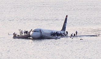 US Airways Flight 1549 after landing on the waters of the Hudson River in January 2009 US Airways Flight 1549 (N106US) after crashing into the Hudson River (crop 2).jpg