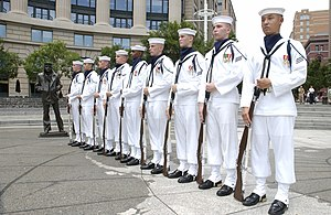 Gaiters - U.S. Navy Ceremonial Guard wearing white canvas leggings, as the part of the Enlisted Full Dress Whites or Blue