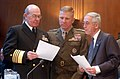 US Navy 040310-N-2568S-004 From left to right, Adm. Vern Clark,Chief of Naval Operations (CNO), Gen. Michael W. Hagee, Commandant of the Marine Corps, and the Honorable Gordon R. England, Secretary of the Navy, prepare their te.jpg