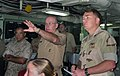 US Navy 041011-N-7798M-030 Chief of Naval Operations (CNO), Adm. Vern Clark, is briefed aboard amphibious assault ship USS Essex (LHD 2) during his tour of the Middle East region.jpg