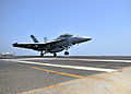 US Navy 110309-N-0569K-094 An F-A-18F Super Hornet assigned to the Red Rippers of Strike Fighter Squadron (VFA) 11 completes a touch and go landing.jpg