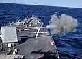 US Navy 111201-N-ZF681-148 The MK-45 5-inch-54-caliber lightweight gun aboard the guided-missile destroyer USS Halsey (DDG 97) fires during a live.jpg