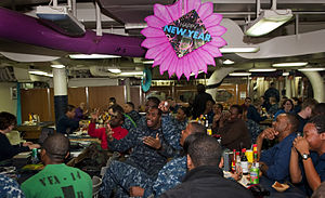 US Navy 111231-N-JI215-006 Sailors celebrate New Year's Eve in the aft mess decks aboard the Nimitz-class aircraft carrier USS John C. Stennis (CVN.jpg