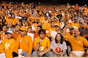 Tennessee Volunteers football - UT fans at Neyland Stadium wearing the school colors.