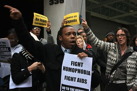 Protests in New York City against Uganda's Anti-Homosexuality Bill. Uganda Anti-Homosexuality Bill protest.jpg
