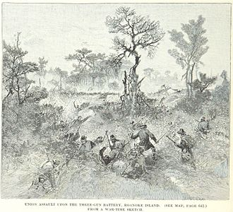 Battle of Roanoke Island - Union troops assault the Confederate three-gun battery