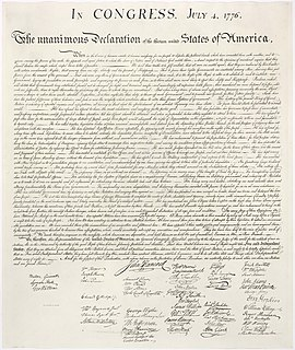United States Declaration of Independence 1776 assertion of colonial Americas independence from Great Britain