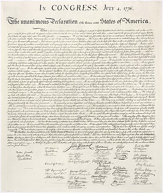 Human rights - U.S. Declaration of Independence ratified by the Continental Congress on 4 July 1776
