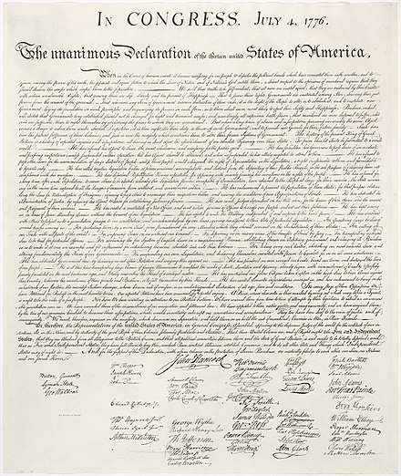 U.S. Declaration of Independence ratified by the Continental Congress on 4 July 1776 Us declaration independence.jpg