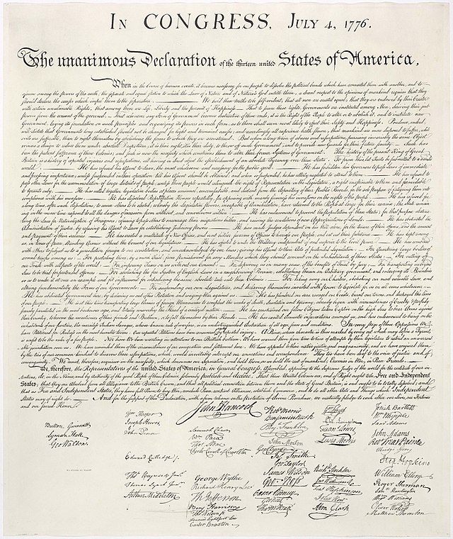 From commons.wikimedia.org: United States Declaration of Independence {MID-139534}