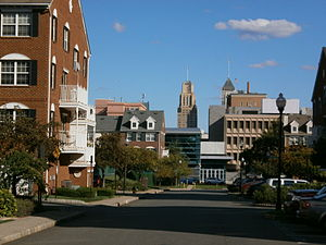 University Heights, Newark - A view east along Academy Street from Society Hill towards downtown. In the center at the end of street the buildings visible in the mid-ground are part of Newark Tech (operates as part of the Essex County Vocational Technical Schools).