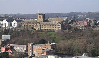 Bangor University - Main Arts and other Bangor University buildings from Bangor Mountain