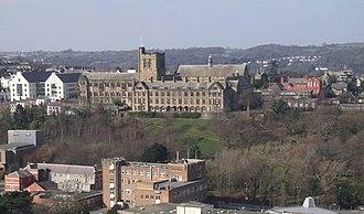 Bangor University - Main Arts and other Bangor University buildings from Bangor Mountain