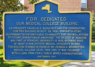 SUNY Upstate Medical University - New York State historic marker at Upstate Medical University