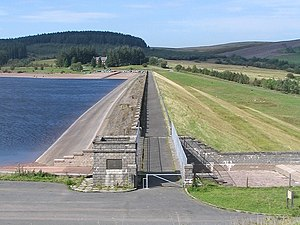 Usk Reservoir - The reservoir main dam wall