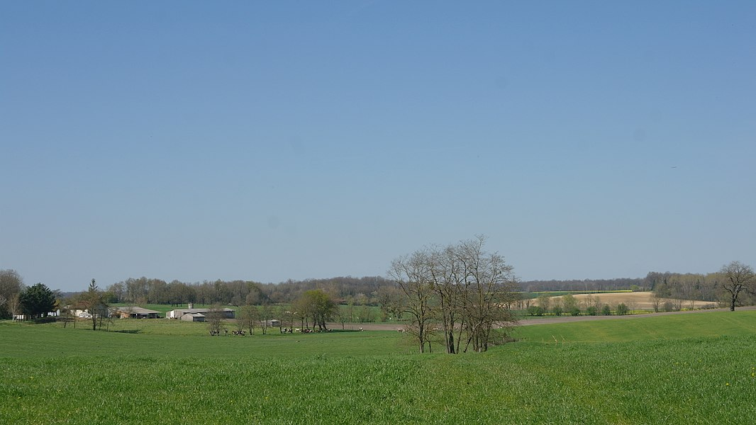 "Landscape of Varennes-Saint-Sauveur (France, Burgundy). In the background, on the left, the hamlet of ""Moulin de Labergement""."