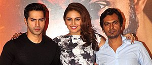 Nawazuddin Siddiqui - Varun Dhawan, Huma Qureshi and Nawazuddin Siddiqui at a promotional event of Badlapur (2015)